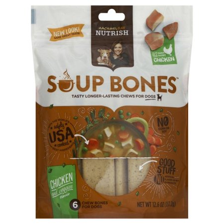 Rachael Ray Nutrish Soup Bones Dog Treats, Chicken & Veggies Flavor, 6 count