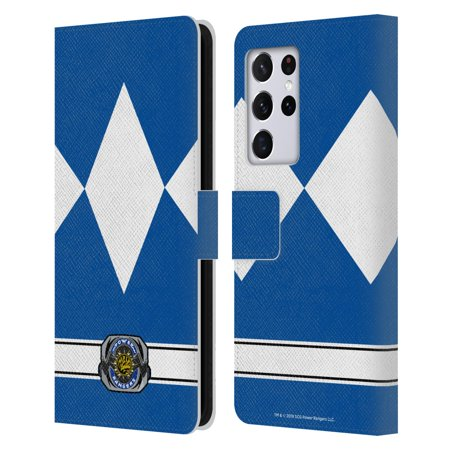 Head Case Designs Officially Licensed Power Rangers Retro Costumes Blue Ranger Leather Book Wallet Case Cover Compatible with Samsung Galaxy S21 Ultra 5G