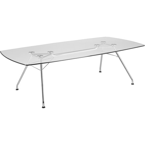OFM Large Tempered Glass Conference Table, Stainless Steel
