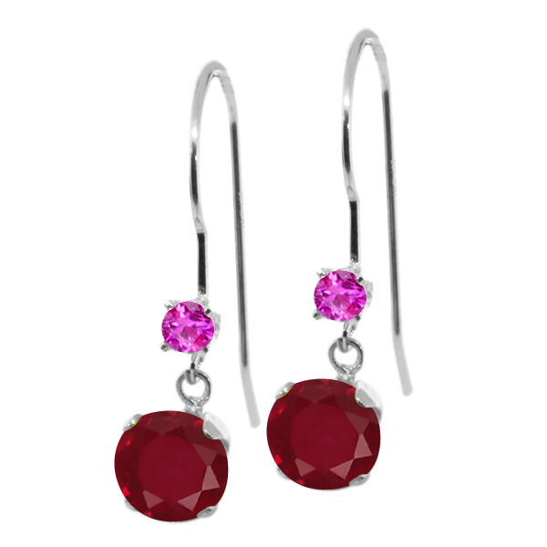 1.28 Ct Round Red Ruby Pink Sapphire 14K White Gold Earrings by