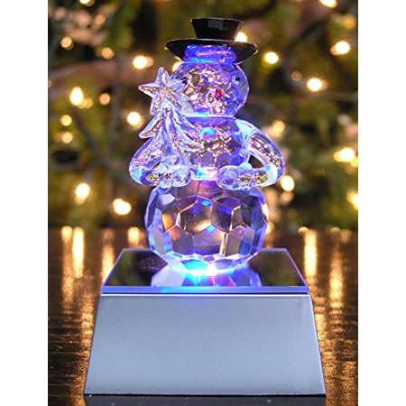Crystal Glass Snowman Holding Christmas Tree Figurine ()