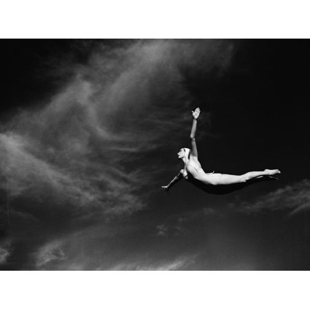 Woman Performing Swan Dive Black and White Figurative Photo Print Wall Art By