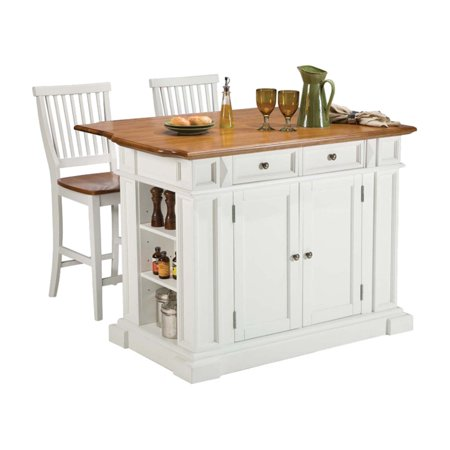 Home Styles Traditions Kitchen Island and 2 Stools, White/Distressed Oak