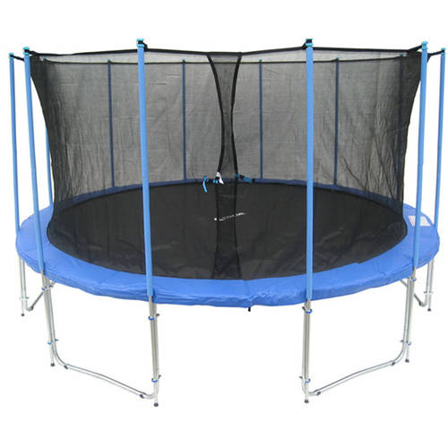 ExacMe 15-Foot Trampoline, with Safety Enclosure and Ladder, Blue (Box 1 of 3)