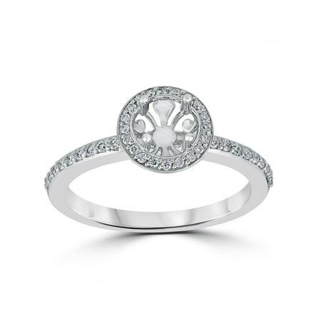 (1/3ct Diamond Engagement Ring Semi Mount 14K White Gold Setting)