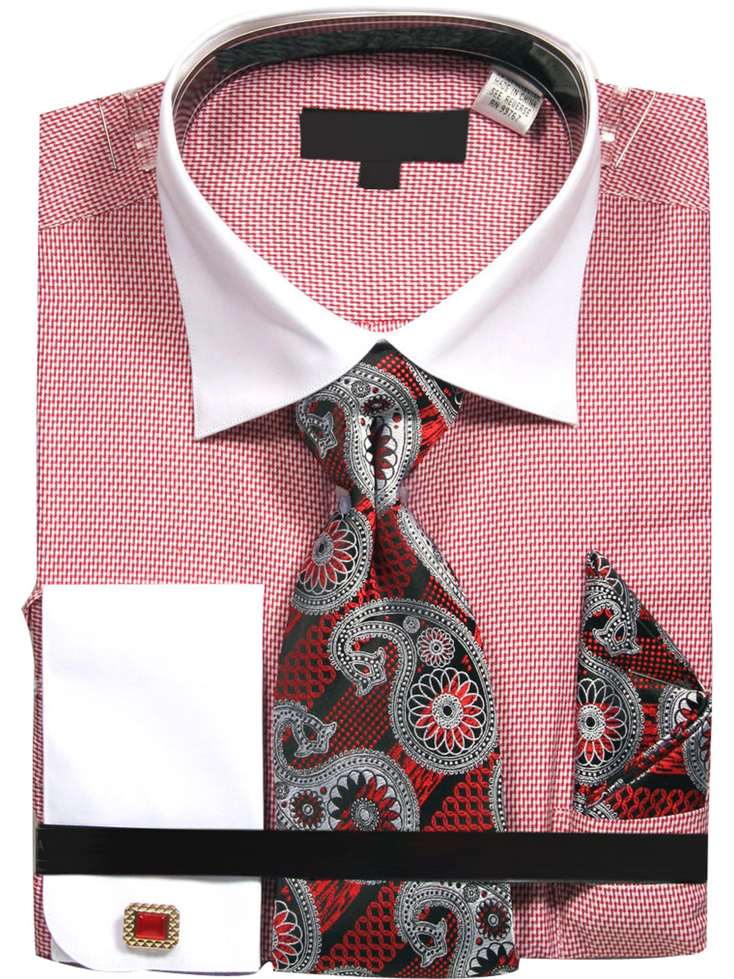 Men's Zig Zag Pattern Dress Shirt with Tie Handkerchief and Cufflinks