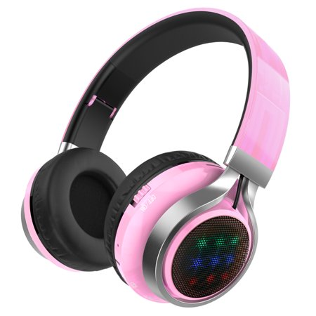 Bluetooth Headphones Over Ear, Folding Wireless Earbuds Noise Cancelling LED Stereo Headphones Adjustable Sport Headsets for Men and Women (Pink) ()
