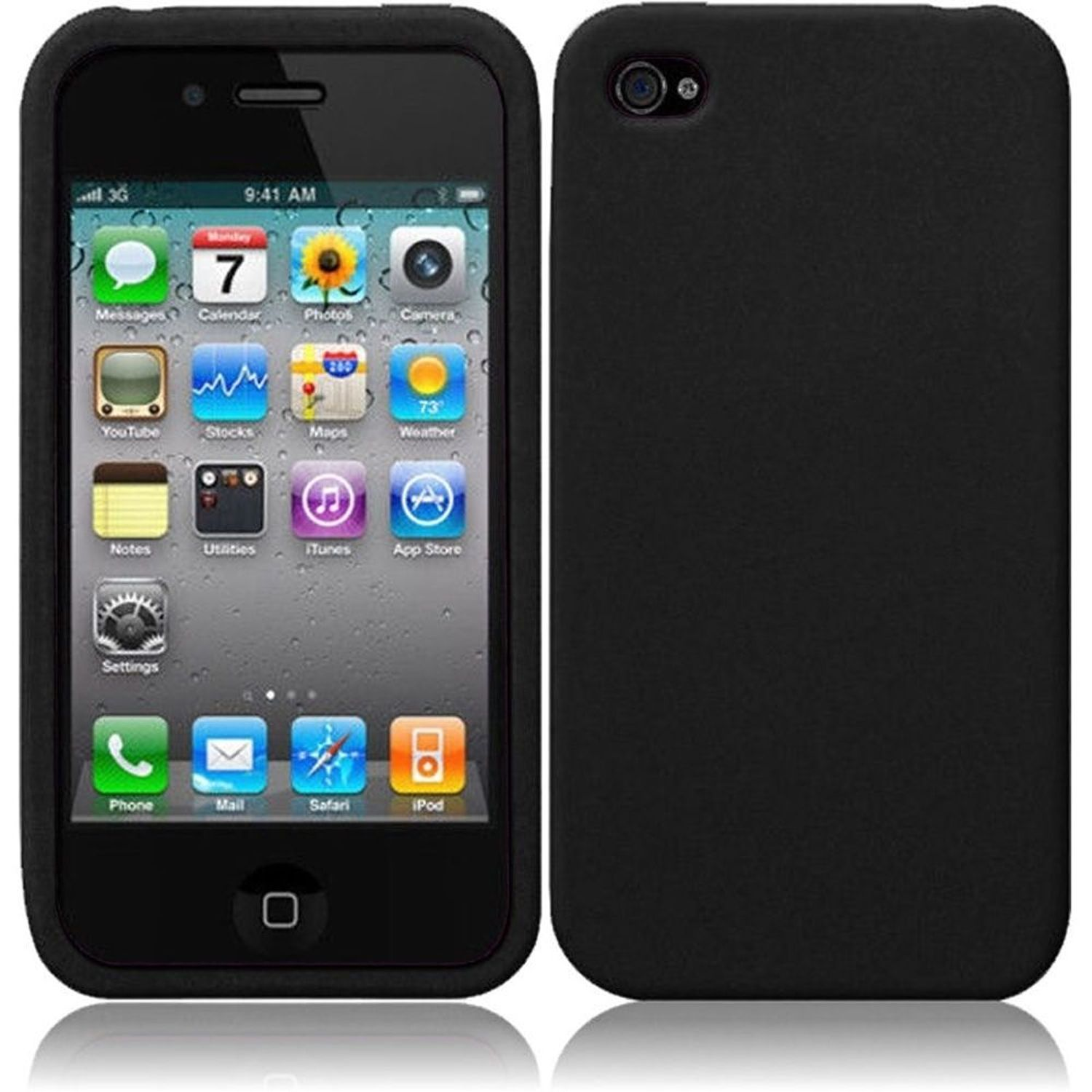 Insten For Apple iPhone 4 / 4SGS 4G CDMA GSM Silicone Soft Skin Cover Case Black