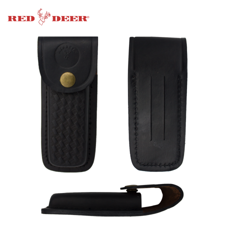 Folding Pocket Knife Genuine Black Leather Pouch Case