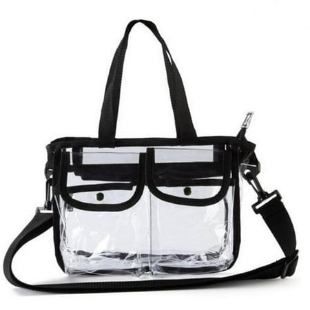 CoreLife Clear Tote Bag, Small Stadium Approved Travel Bag with Zipper & Button Pockets and Detachable Shoulder Strap