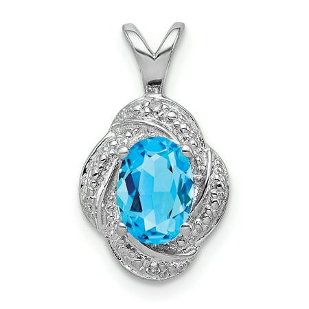 925 Sterling Silver Rhodium Plated Diamond and Blue Topaz Pendant - image 2 de 2