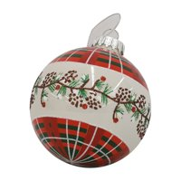 Holiday Time Pine Cone Glass Ornament, Red Plaid