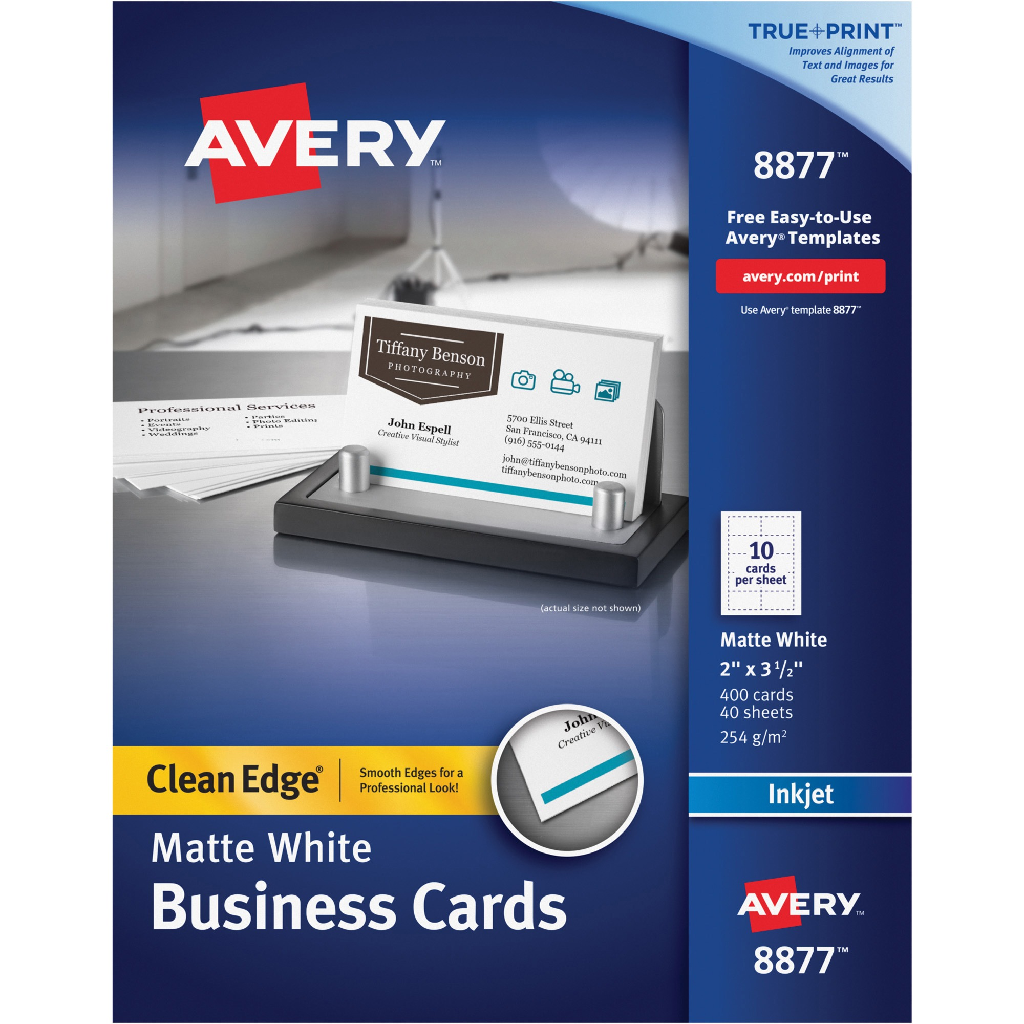 Avery True Print Clean Edge Business Cards, Inkjet, 2 x 3 1/2, White, 400/Box