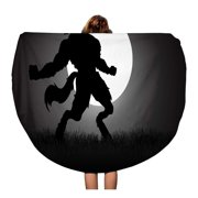 NUDECOR 60 inch Round Beach Towel Blanket Stock of Werewolf Howling in The Night During Full Travel Circle Circular Towels Mat Tapestry Beach Throw