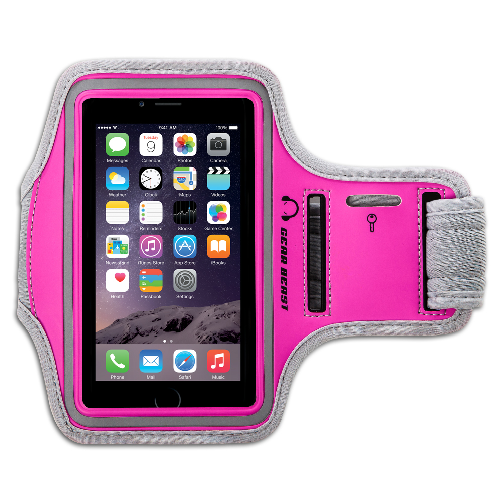 Sports Running Armband for iPhone 7, 6s, 6, 5, Galaxy S7, S6, S6 edge, S5 and Other Smartphones with Key Holder, Reflective Safety Stripe and Responsive Screen Protector