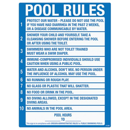 Poolmaster pool rules sign for residential and - Residential swimming pool regulations ...