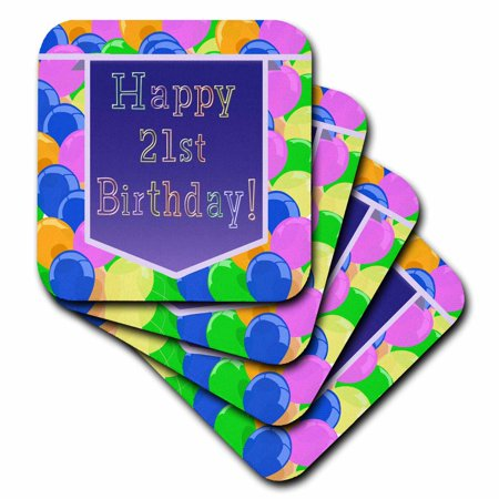 3dRose Balloons with Purple Banner Happy 21st Birthday, Soft Coasters, set of - 21st Balloons And Banners