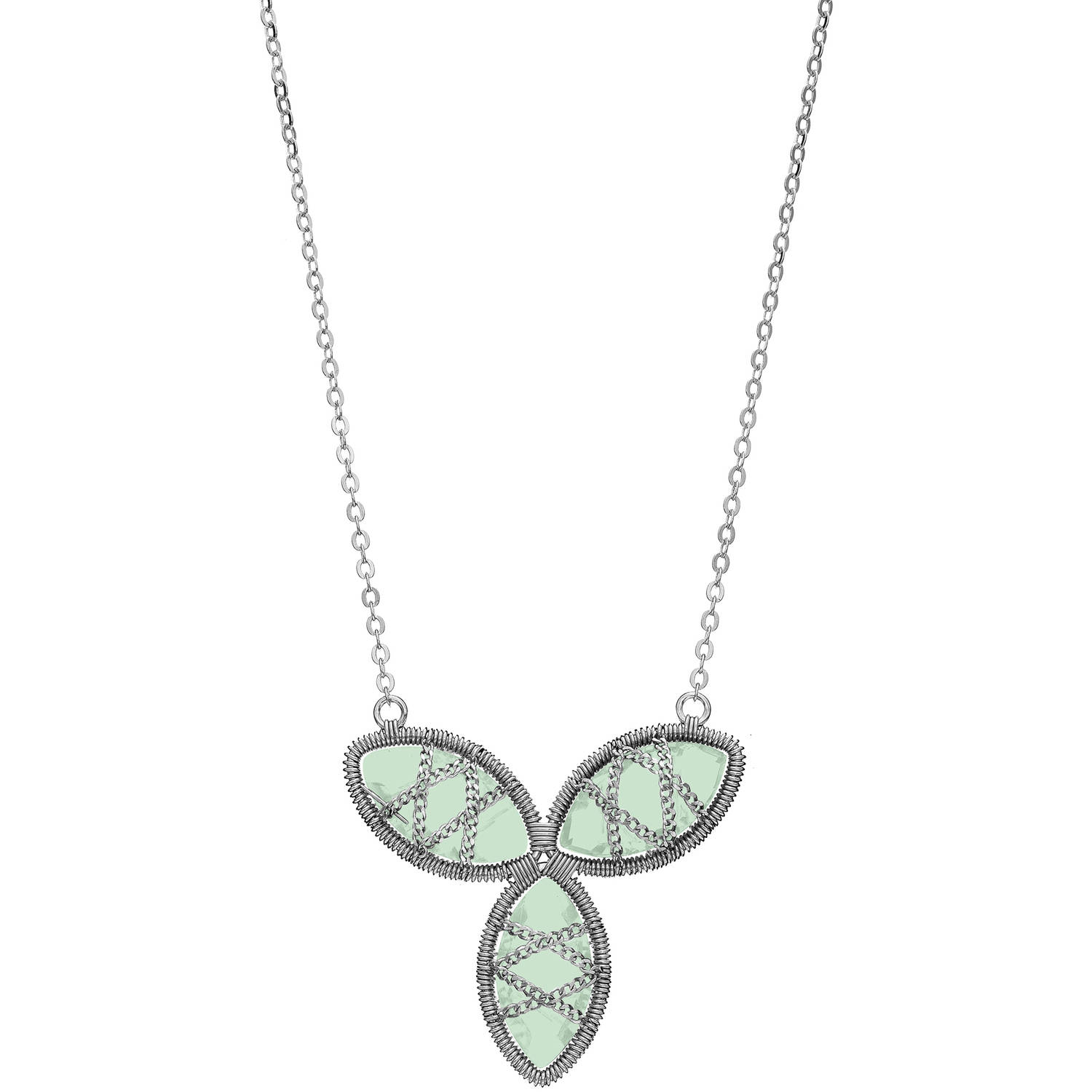 5th & Main Sterling Silver Hand-Wrapped Triple Floral Chalcedony Stone Necklace by Generic