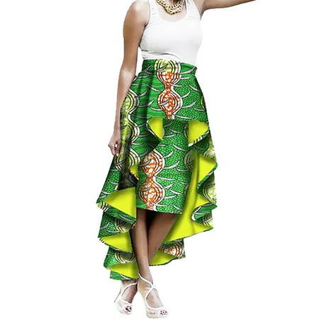 African Print Skirt (High Waist Printed Women Irregular Style Party Skirt)