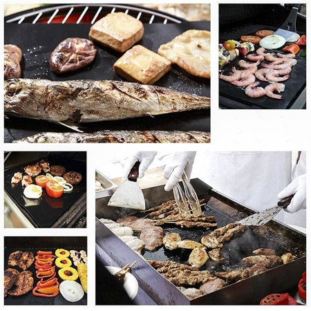 4pcs BBQ Extra Large Grill Mat Set,60*40cm,Non-stick Grill Mat with Food Grade Red Silicone Brushes and 9-inch Food Clips - image 5 de 9
