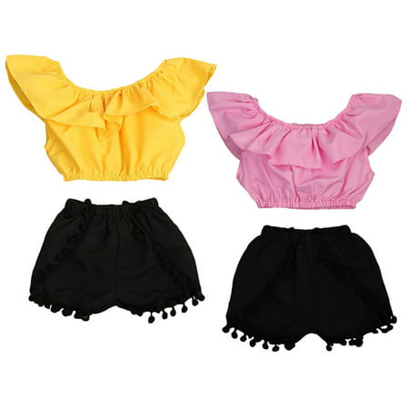 2PCS Kids Baby Girl Clothes Summer Off Shoulder Crop Top Tank+Short Pants Outfit 6-12 Months