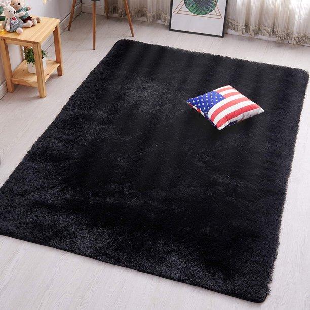 popeve black fluffy shag area rugs for bedroom 3x5 soft