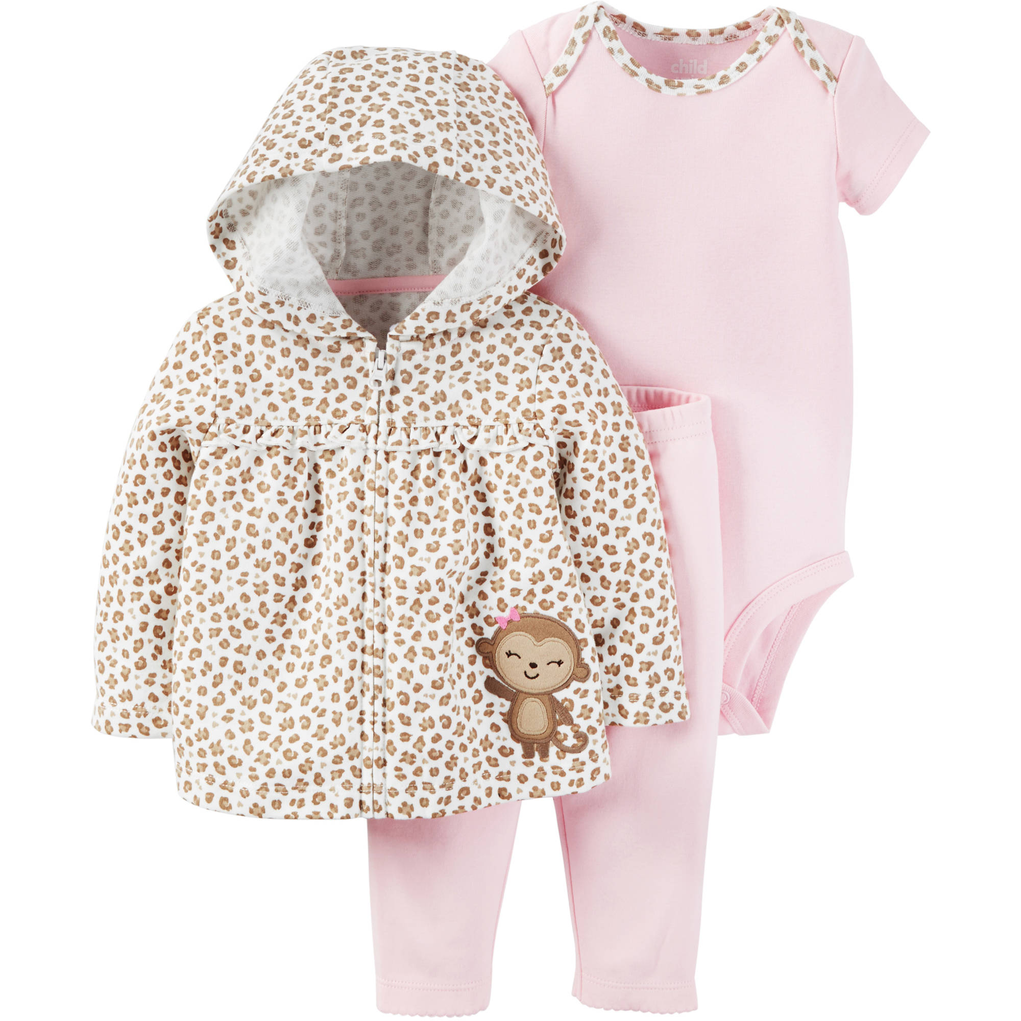 Child of Mine by Carter's Newborn Baby Girl Sweater, Bodysuit, and Pants Outfit Set