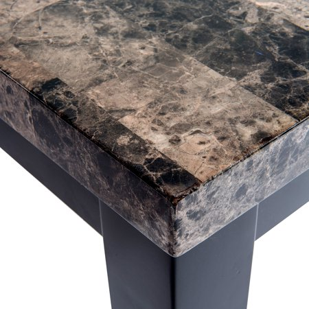 Home Source Eclipse Black Faux Marble Finish Rectangular Table