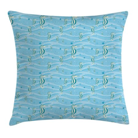 Animal Decor Throw Pillow Cushion Cover, Cartoon like Seahorses for Kids Nursery Baby Girls Boys Childish Playroom Nautilus, Decorative Square Accent Pillow Case, 18 X 18 Inches, Blue, by Ambesonne - Seahorse For Baby