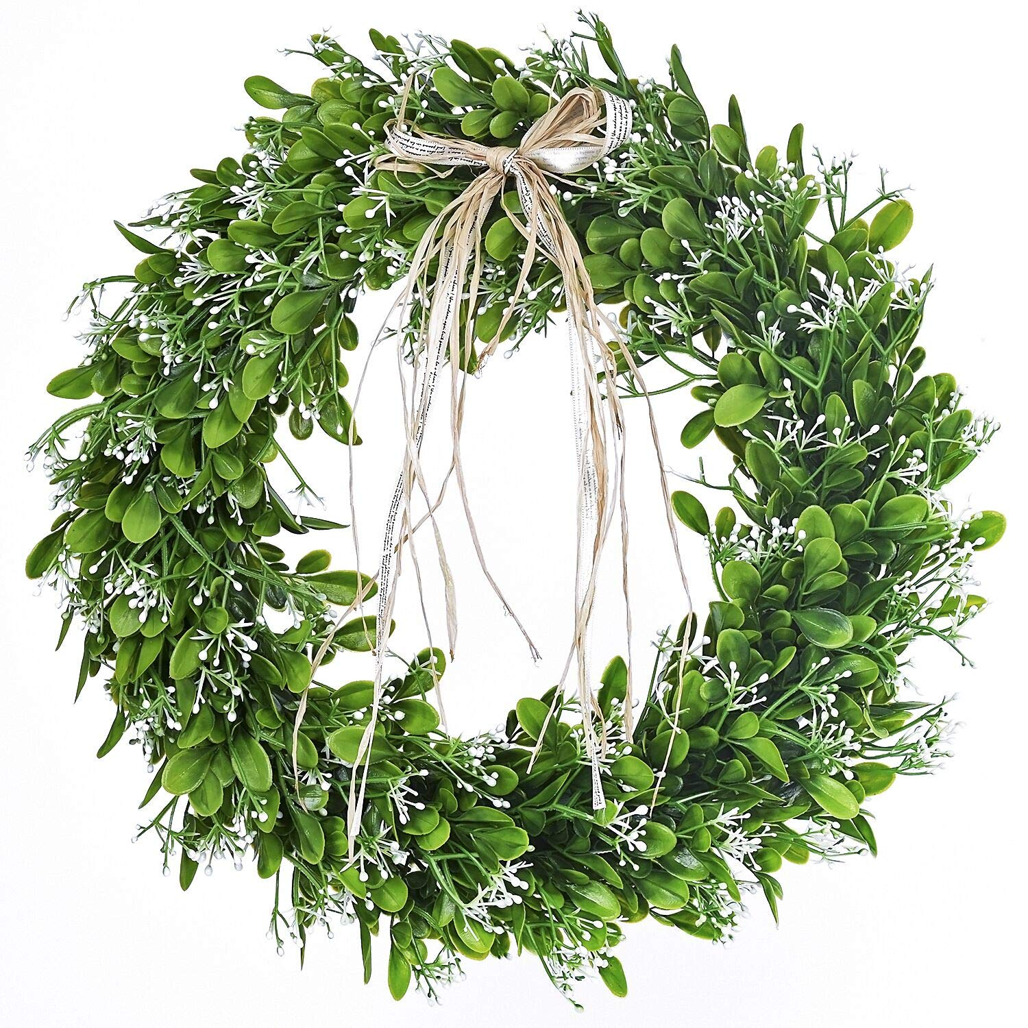 16 Inch Artificial Green Leaf Wreath With Bow Spring Front Door