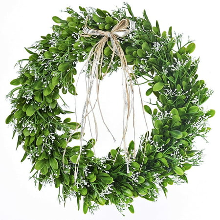 16 inch Artificial Green Leaf Wreath with Bow Spring Front Door Wreath Greenery Garland Home Office Wall Wedding Decor - Halloween Wreath Bows