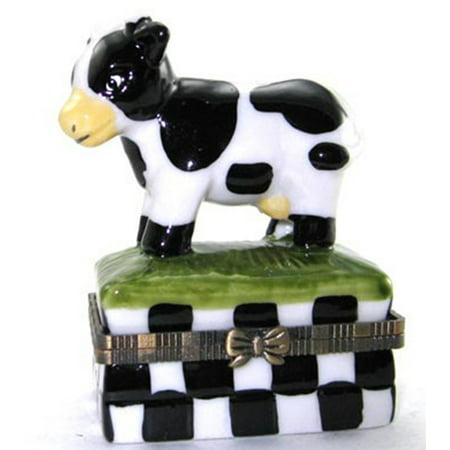 Black and White Dairy Cow Hinged Trinket Box phb