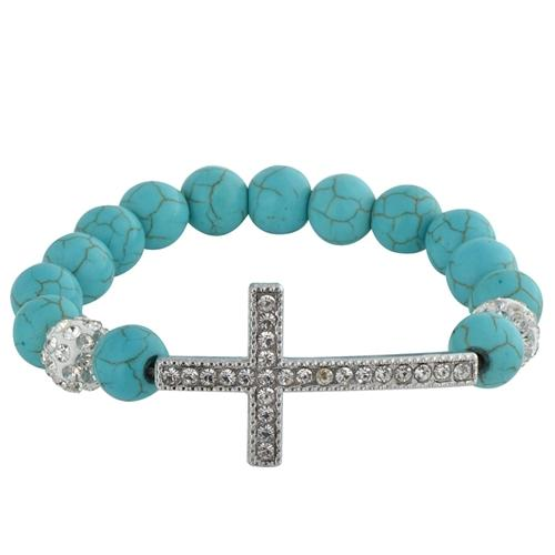 "Zodaca Blue Turquoise Beads Bracelet Charm Jewelry w/Sideways Cross Gifts Beauty 8.07""-11.8"""