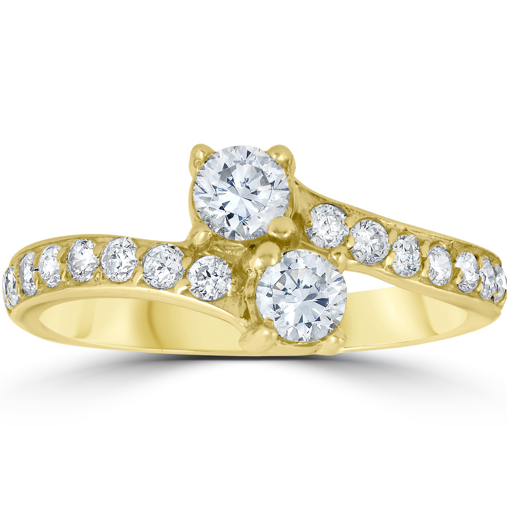 1 Carat Forever Us 2 Stone Diamond Ring 10K Yellow Gold by Pompeii3
