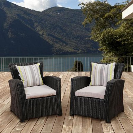 Atlantic  Glacier Black Synthetic Wicker Seating Armchair Set With Light Grey Cushions  Set Of 2