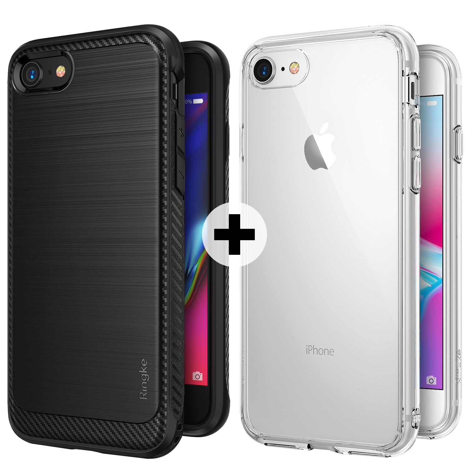 Apple iPhone 7 / iPhone 8 Phone Case, Ringke [Onyx] Resilient Strength Flexible Durability TPU Defensive + [FUSION] Crystal Transparent PC Back TPU Bumper Drop Protection Case Cover
