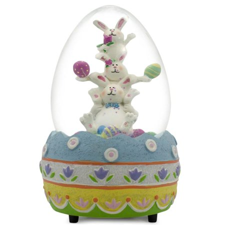 Easter Resin Figurine (Easter Bunny Musical Water Globe Easter Egg Figurine 5.5 Inches)