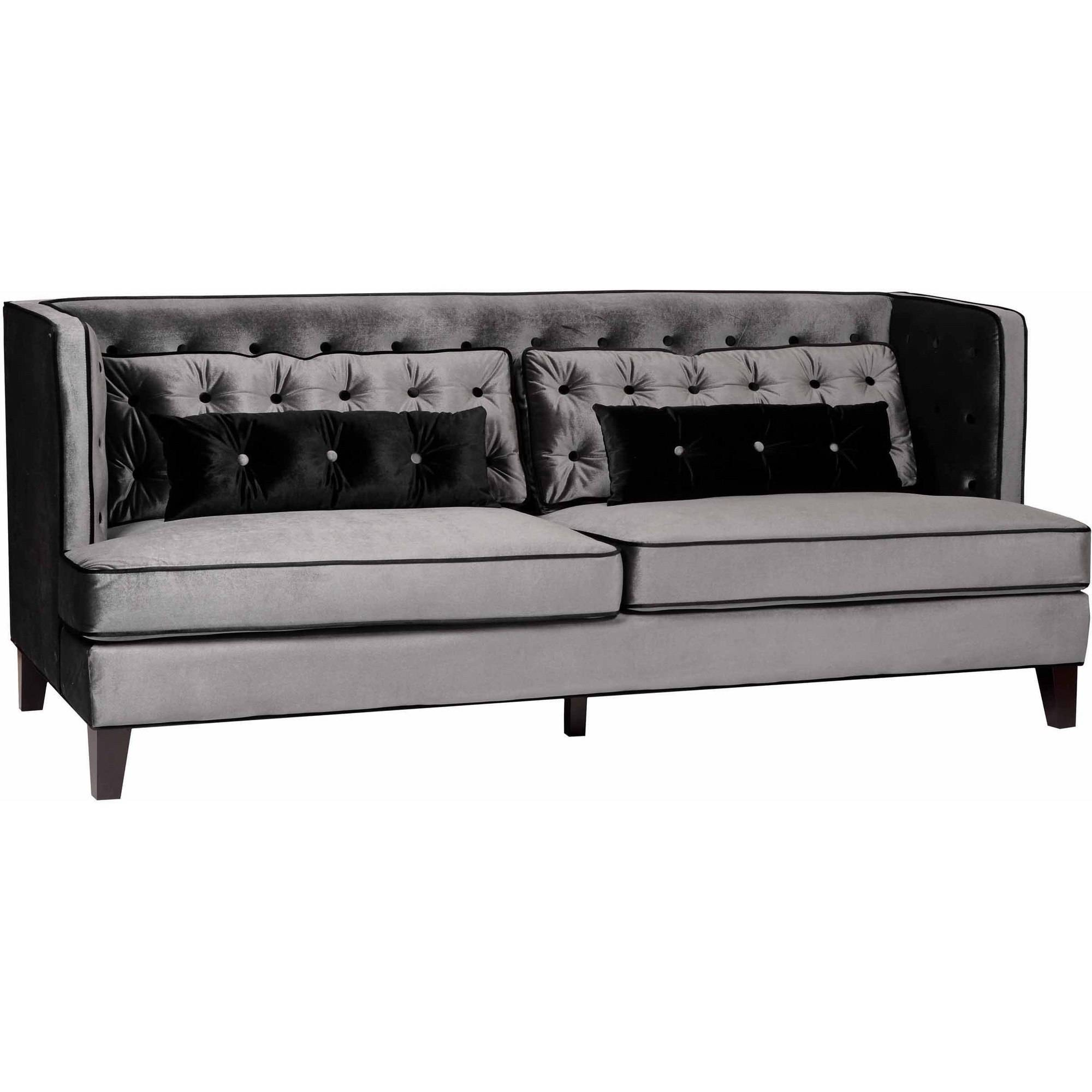Armen Living Moulin Sofa, Gray Velvet with Black Piping