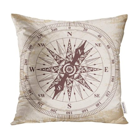 ECCOT Map Arrow Old Rose of Wind Brown Pattern Beige The Aging Effect World Pillow Case Pillow Cover 18x18 inch