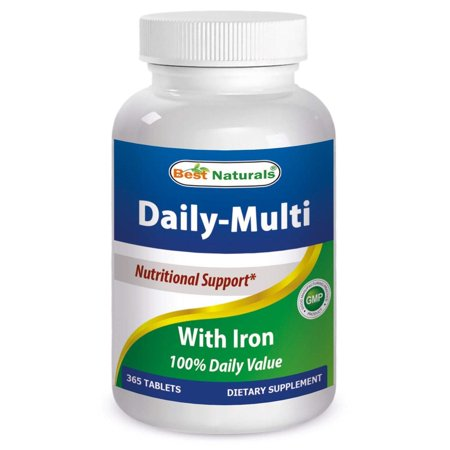 Best Naturals Daily Multivitamins with Iron 365 Tablets - 100% Daily (Best Value Multivitamin Uk)