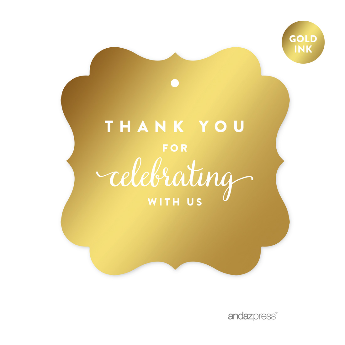 Thank You For Celebrating With Us! Gold Metallic Gold Fancy Frame Square Favor Gift Thank You Tags, 24-Pack