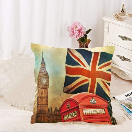 GCKG 4 Pack Vintage American Flag Union Jack Pillowcase Pillow Cover 18x18 inches,Retro Big Ben Throw Cushion Pillow Case Cover - image 1 of 4