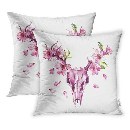 BOSDECO Deer Skull with Cherry Flowers Spring Blossom of Sakura Apple Petals Pillowcase Pillow Cover 18x18 inch Set of 2 - image 1 de 1