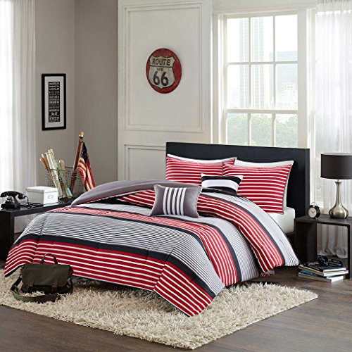 Comforter Set-Color:Red,Size:Full/Queen