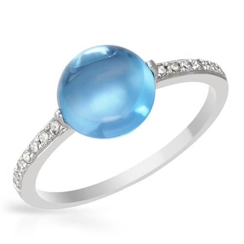 14K WHITE GOLD 2.84CTW BLUE TOPAZ AND DIAMOND RING by