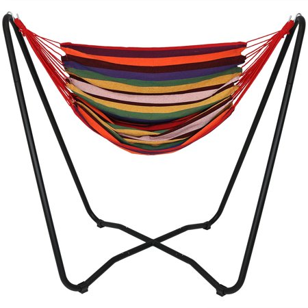 Sunnydaze Hanging Rope Hammock Chair Swing with Space Saving Stand, Sunset - For Indoor or Outdoor Patio, Yard, Porch, and Bedroom