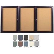 Ghent PB34872VX-183 48 in. x 72 in. 3-Door Bronze Aluminum Frame Enclosed Vinyl Bulletin Board - Ebony