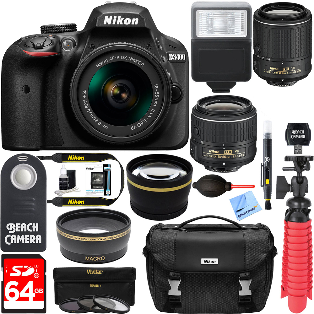 Nikon D3400 24.2 MP DSLR Camera + VR Lens Kit + Bundle 64GB SDXC Memory + Photo Bag+Wide Angle Lens + 2x Telephoto+Flash+ Remote +Tripod+Filters (18-55mm & 55-200mm Dual VR Zoom Lens Package, Black)