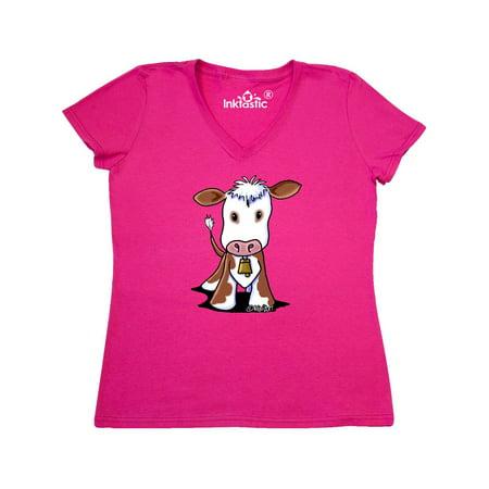 Little Brown Cow Women's V-Neck T-Shirt - KiniArt