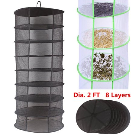 Hot Sale 2FT 8 Layer Black Mesh Tier Collapsible Hydroponic Plant Grow Hanging Herb Drying  Rack Dry Net